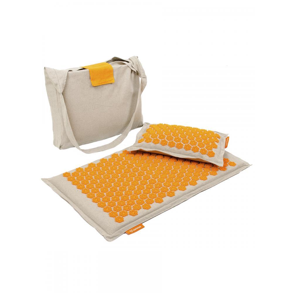 Набор массажный коврик и подушка Comfox Premium оранжевый