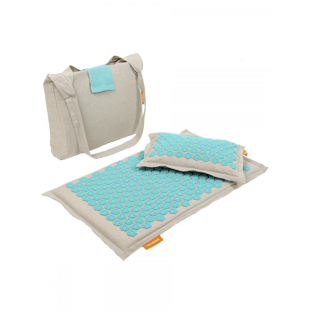 Набор массажный коврик и подушка Comfox Premium бирюзовый