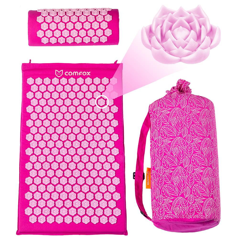 Набор массажный коврик и валик Comfox розовый