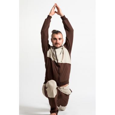 Толстовка коричневая с бежевыми вставками, с косой молнией асимметричного кроя SAVASANA.