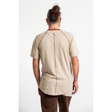 Бежевая футболка из мягкого хлопкового трикотажа SAVASANA.