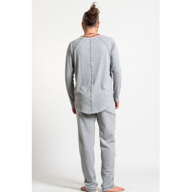 Светло-серый лонглсив с удлиненным подолом сзади и контрастными швами SAVASANA.