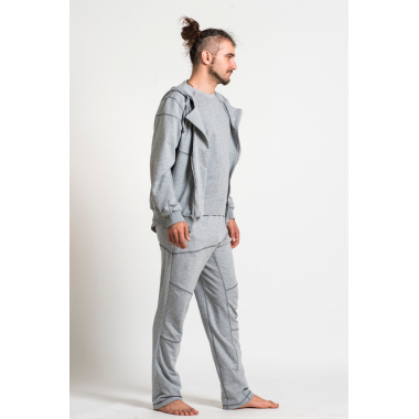 Штаны светло-серые с асимметричным свободным кроем и контрастными швами SAVASANA.