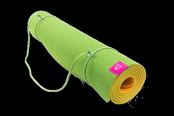 Коврик для йоги Апельсин (зелено-оранжевый)