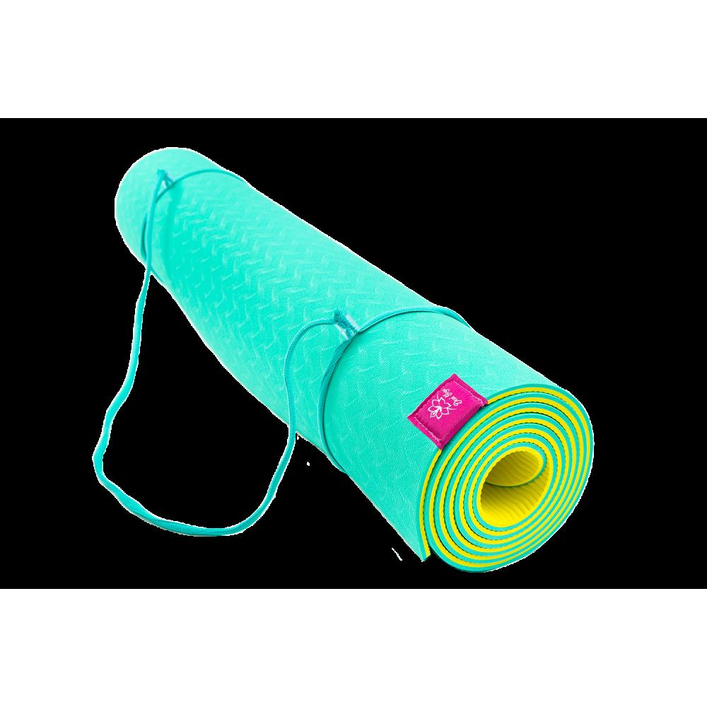 Коврик для йоги Лайм (бирюзово-желтый)