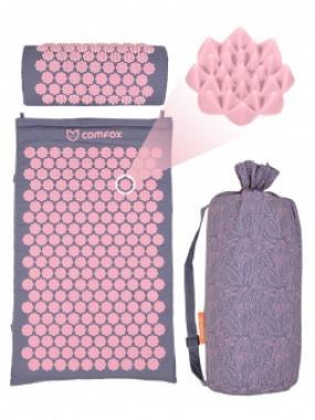 Набор массажный коврик и валик Comfox серо-розовый