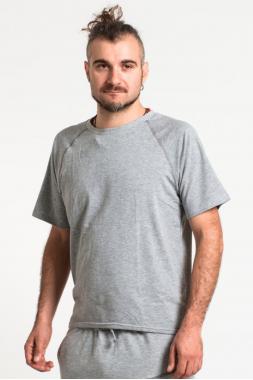 Светло-серая футболка из мягкого хлопкового трикотажа SAVASANA.