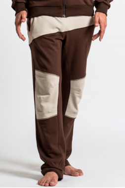 SAVASANA - Штаны коричневые с бежевыми вставками